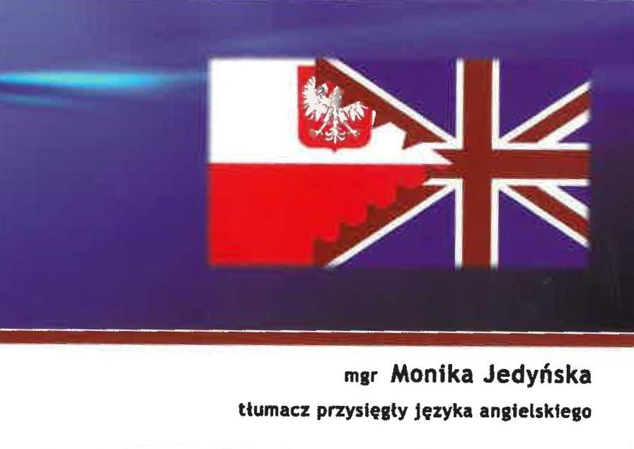 Tłumacz przysięgły języka angielskiego - mgr Monika Jedyńska